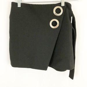 Zara Skirt Mini Black Side Wrap Side XS (K59)